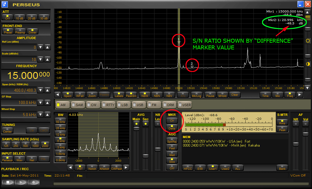 "Typical S/N ratio measurement settings for use with the Perseus SDR is shown above. A right-click with the computer's mouse places signal level markers where desired. The ""Delta"" button under MKR (marker) automatically calculates the real time difference."