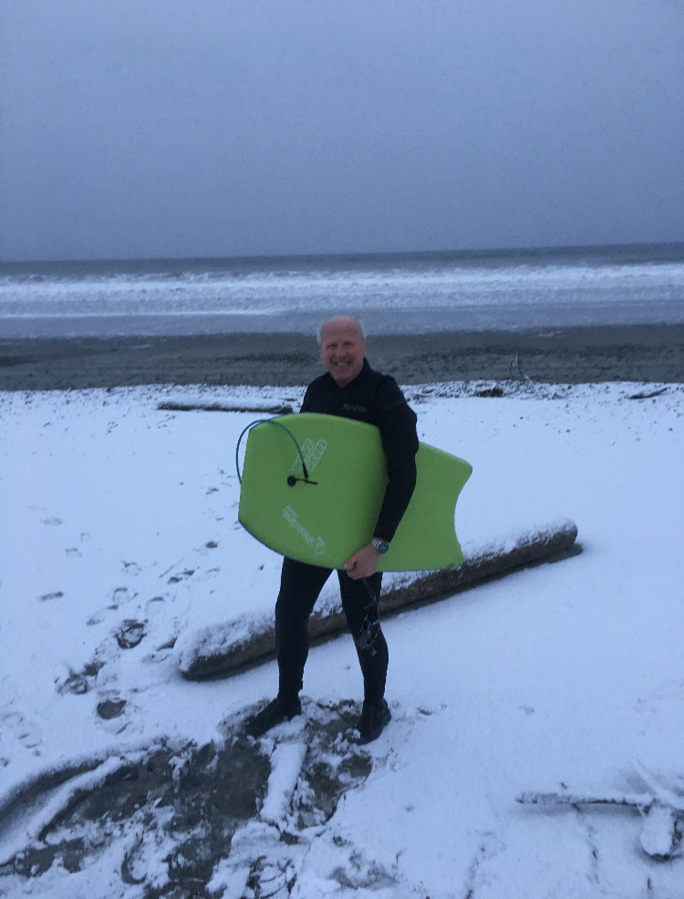 Life is a beach - with snow - on Masset - 2020